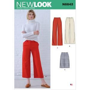 Bilde av New Look N6643 Bukse med vide ben og skjørt