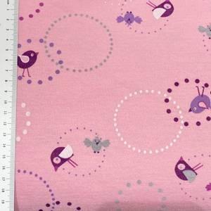 Bilde av Strikket ull/bomull, tynn tosidig - rosa fugler og sirkler