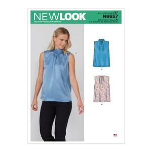 Bilde av New Look N6657 Bluse med folder og sløyfe bak