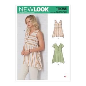Bilde av New Look N6658 Bluse med knapper og vid bunn
