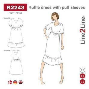 Bilde av Line2Line K2243 Kjole med volanger og puffermer