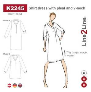 Bilde av Line2Line K2245 Skjortekjole med legg og V-hals