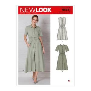 Bilde av New Look N6651 Kjole med strikk i livet og knappestolpe