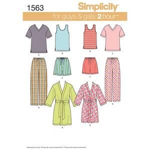 Bilde av Simplicity 1563 Unisex pysjamas