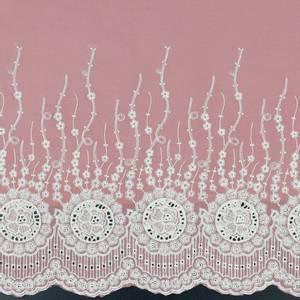 Bilde av Bomullstoff med blondekant nederst rosa
