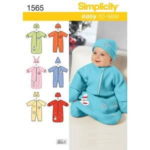 Bilde av Simplicity 1565 Sparkebukse og lue til baby