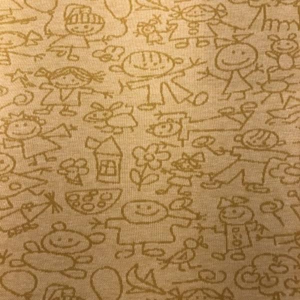Jacquard barnetegninger hvit og gul