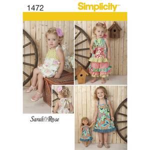 Bilde av Simplicity 1472 Romper, kjole topp og bukser + dukkeklær