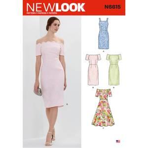 Bilde av New Look N6615 Kjole med varianter på skuldre