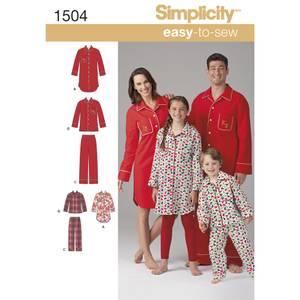 Bilde av Simplicity 1504 Pysjamas til dame, herre og barn