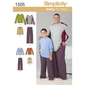 Bilde av Simplicity 1505 Pysjamas til herre og gutt