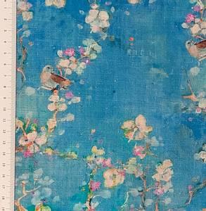 Bilde av Lin/viskose - fugl på blomstergren, blå