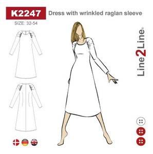 Bilde av Line2Line K2247 Kjole med rynket raglanerme