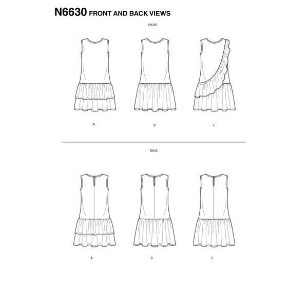 New Look N6630 Kjole med volanger og rysjer