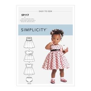 Bilde av Simplicity S9117 Kjole, bloomers og hårbånd til barn
