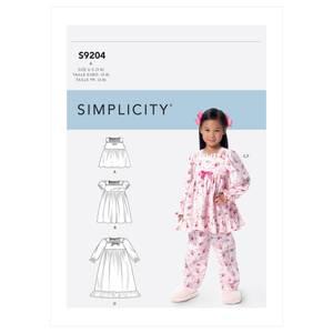 Bilde av Simplicity S9204 Pysjamas og nattkjole til barn