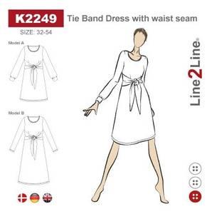 Bilde av Line2Line K2249 Kjole med søm i livet og knyting