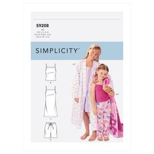 Bilde av Simplicity S9208 Pysjamas og morgenkåpe til barn