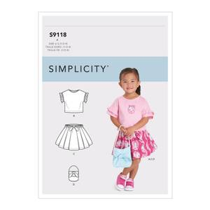Bilde av Simplicity S9118 Topp, skjørt og veske til barn