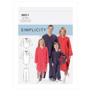 Bilde av Simplicity S9211 Pysjamas til barn og voksen