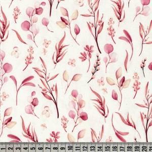 Bilde av Jersey digital akvarell blader - rød/ rosa toner