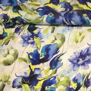 Bilde av Viskose melert blå blomster