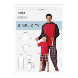 Bilde av Simplicity S9128 Pysjamas til barn og mann