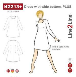 Bilde av Line2Line K2213+ Kjole med vid bunn - fast stoff (str. 52-64)