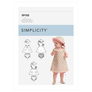 Bilde av Simplicity S9152 Kjole, bloomers og hatt til baby