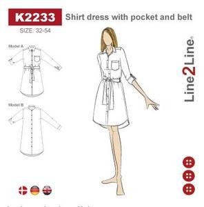 Bilde av Line2Line K2233 Skjortekjole med lomme og belte