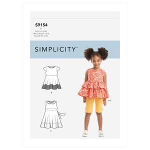 Bilde av Simplicity S9154 Kjole, topp, tunika og tights til barn