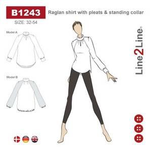 Bilde av Line2Line B1243 Raglan bluse med legg og ståkrage