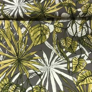 Bilde av Viskose/lin - grå med tropiske blader