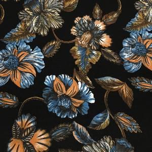 Bilde av Viskosejersey blomster og blader