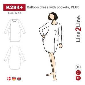 Bilde av Line2Line K284+ Ballongkjole med lommer (str. 52-64)