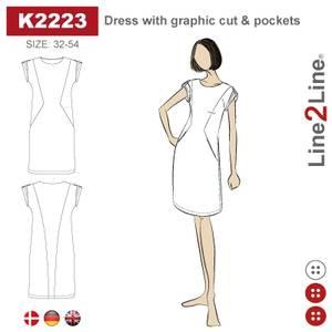 Bilde av Line2Line K2223 Kjole med grafisk snitt og lommer