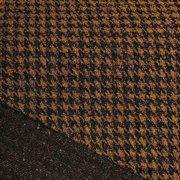 Strikket jacquard - hundetannsmønster rust oransje
