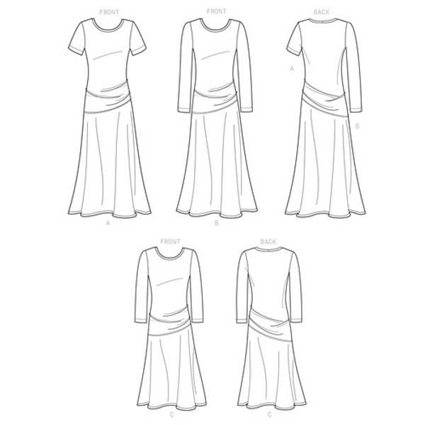 Simplicity S9222 Kjole med asymmetriske detaljer