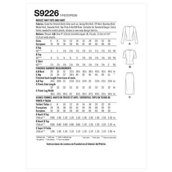 Simplicity S9226 Overdel og skjørt