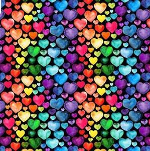 Bilde av Isoli digital hjerter i regnbuefarger sort