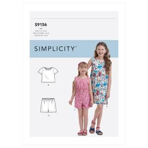 Bilde av Simplicity S9156 Topp, shorts, kjole og romper til barn