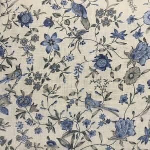 Bilde av Lin - Beige med blå fugler og blomster