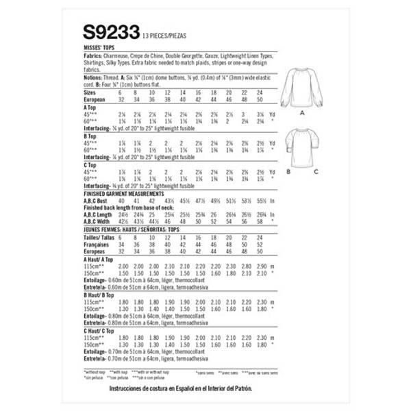 Simplicity S9233 Bluse med knytting i halsen