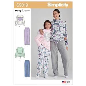 Bilde av Simplicity S9019 Pysjamas til dame og jente