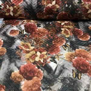 Bilde av Quiltet jersey - blomster og sommerfugler høstfarger