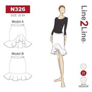 Bilde av Line2Line N326 Skjørt med rysjer og strikk