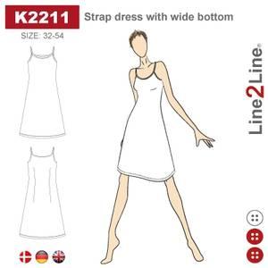 Bilde av Line2Line K2211 Stroppekjole med vid bunn - stretch stoff