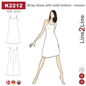 Bilde av Line2Line K2212 Stroppekjole med vid bunn - fast stoff