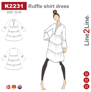 Bilde av Line2Line K2231 Skjortekjole med rynker og krave