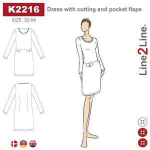 Bilde av Line2Line K2216 Kjole med delsøm og lommelapper